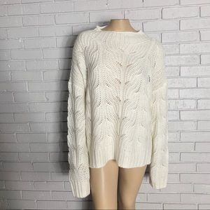 J. Crew Women's Pointelle Ivory cable sweater